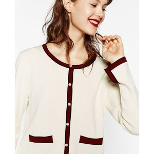 Zara Size M Colorblock Contrasting Pearls Cardigan